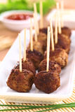 Meatball Appetizer. S with toothpicks (Selective Focus, Focus on the first two meatballs Royalty Free Stock Photos