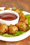 Meatball appetizers with a dipping sauce Royalty Free Stock Photo