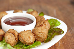Meatball appetizers with a dipping sauce Stock Images