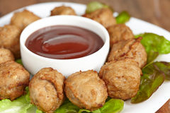 Meatball appetizers with a dipping sauce Stock Photography