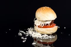 Meatball in a bun with tomato mayonnaise and grated cheese on the black background Stock Photos