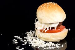 Meatball in a bun with tomato mayonnaise and grated cheese on the black background Stock Photography