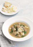 Meatball and cauliflower soup with spinach Stock Photos