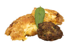 Meatball and chicken schnitzel Royalty Free Stock Images