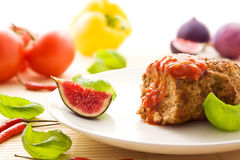 Meatball with chili sauce royalty free stock image