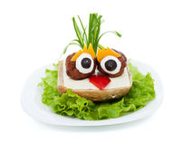 Meatball eyed onion haired creative sandwich Royalty Free Stock Photos