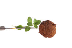 Meatball on a fork Stock Images