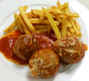 Meatball and fries high angle Stock Photos
