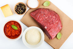 Meatball  ingredients on white table, top view Royalty Free Stock Image