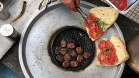Meatball Kofte in Turkish Outdoor Style. Video stock video footage