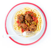 Meatball meal from above Stock Photo