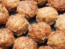 Meatball from minced meat. In frying pan Royalty Free Stock Photography