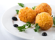 Meatball with olives Royalty Free Stock Images
