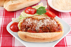 Meatball parmesan sub sandwich Royalty Free Stock Image
