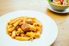 Meatball pasta with sauce Stock Image