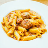 Meatball pasta with sauce Royalty Free Stock Images
