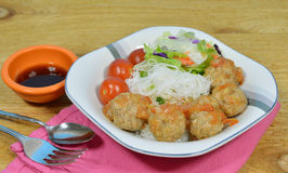 Meatball. Pork meatball and rice vermicelli on a bowl Stock Images