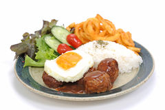 Meatball rice and egg Royalty Free Stock Images
