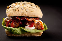 Meatball Sandwich. With ketchup and mayonnaise Royalty Free Stock Images