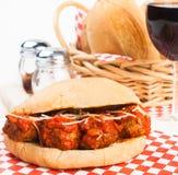 Meatball Sandwich. Delicious meatballs with marinara sauce sandwich Royalty Free Stock Photo