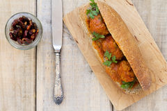 Meatball sandwich with whole wheat roll Royalty Free Stock Images