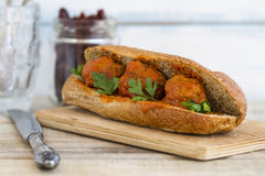 Meatball sandwich with whole wheat roll Stock Photo