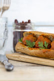 Meatball sandwich with whole wheat roll Stock Image