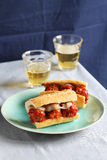 Meatball sandwiches on a plate with two glasses of fresh beer Royalty Free Stock Images