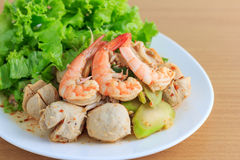Meatball and shrimp salad Royalty Free Stock Image