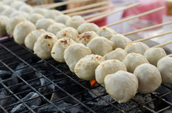 Meatball skewers grill Royalty Free Stock Photos