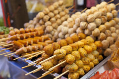 Meatball skewers grill Stock Images