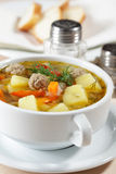 Meatball soup. With vegetables closeup Stock Photo