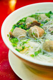 Meatball Soup. A bowl of meatball soup or known as Bakso is a recipe originated from Jawa, Indonesia Stock Images