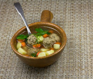 Meatball soup Stock Image