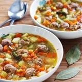 Meatball Soup. Delicious homemade meatball soup recipe Stock Photo