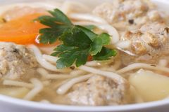 Meatball soup, noodles and vegetables Stock Images