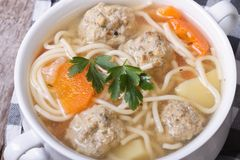 Meatball soup, noodles with vegetables Stock Photos