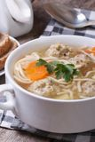Meatball soup, noodles with vegetables vertical Stock Photos