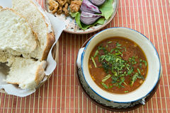 Meatball soup with onion. Meatball soup with bread and onion served at the restaurant stock photography