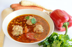 Meatball soup and vegetables Royalty Free Stock Images
