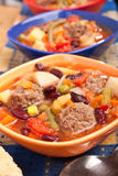 Meatball soup with vegetables an beans Royalty Free Stock Images