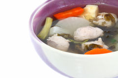 Meatball soup with vegetables Royalty Free Stock Photos