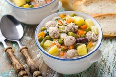 Meatball soup with vegetables Royalty Free Stock Photography