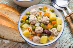 Meatball soup with vegetables Stock Photos