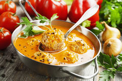 Free Meatball Soup With  Paprika Stock Images - 84634834