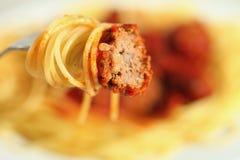 Meatball and spaghetti Stock Photos