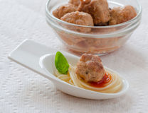 Meatball spaghetti appetizer Royalty Free Stock Image