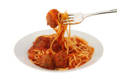 Meatball and spaghetti fork Royalty Free Stock Image
