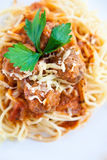 Meatball spaghetti with sauce Royalty Free Stock Photo