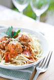 Meatball with spaghetti in tomato sauce Stock Photo